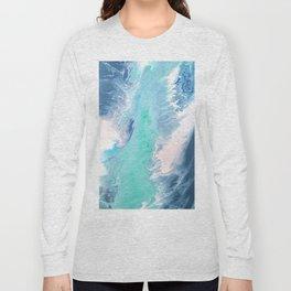 Blue Fluid Painting Waves Fluid Acrylic Abstract Long Sleeve T-shirt