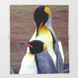Male and Female King Penguins Throw Blanket