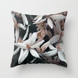 Pink Clematis Throw Pillow