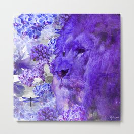 LION AND ORCHIDS  PURPLE AND BLUE FANTASY DREAM Metal Print