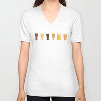 beer V-neck T-shirts featuring Beer by Sara Showalter