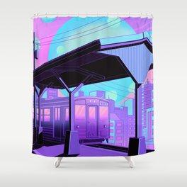 Train to Midnight City Shower Curtain