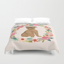 brussels griffon dog floral wreath dog gifts pet portraits Duvet Cover