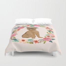 brussels griffon dog floral wreath dog gifts pet portraits Duvet Cover