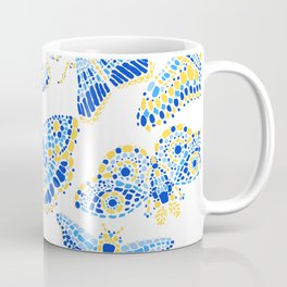 Butterfly Pattern Blue Gold White Coffee Mug