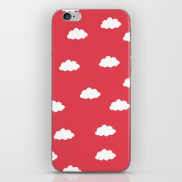 White clouds in red background iPhone Skin