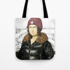 Mona Lisa in winter Tote Bag