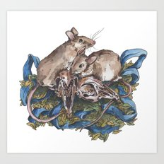 Mice and skulls Art Print