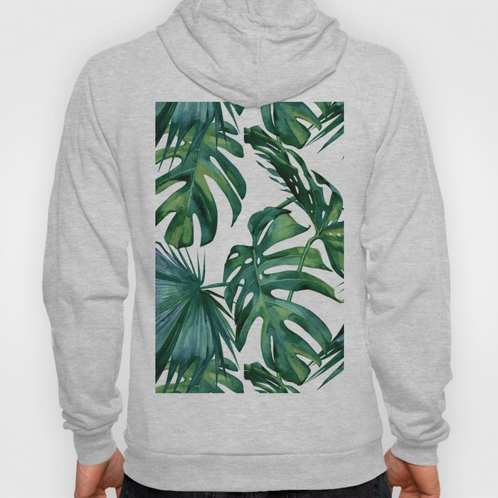 Classic Palm Leaves Tropical Jungle Green Hoody