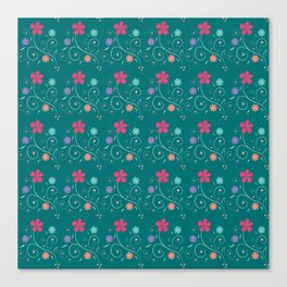 Sea green flowers Canvas Print