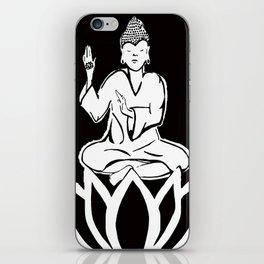 black and white buddha iPhone Skin