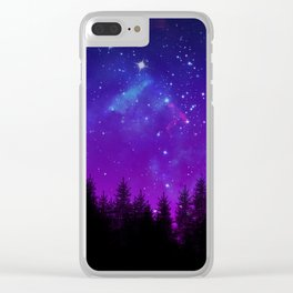 Galaxy Over the Forest at Night Clear iPhone Case