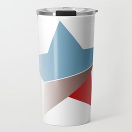 Ombre red white and blue star Travel Mug