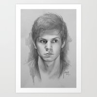 evan peters Art Prints featuring Evan Peters (sketch)  by Nicolas Jamonneau