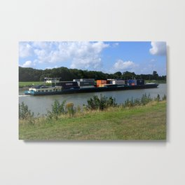 Barge On The Canal Metal Print