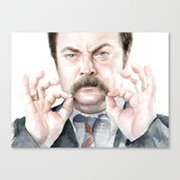 swanson Canvas Prints featuring Swanson Mustache by Olechka