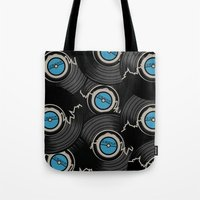 record Tote Bags featuring Broken Record by 2EQUALS