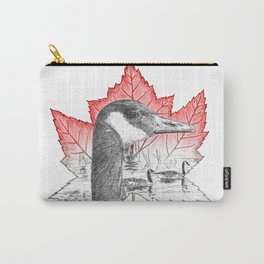 Canada Goose on Maple Leaf (with some red) Carry-All Pouch