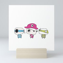 Three Pastelly Pirates Mini Art Print