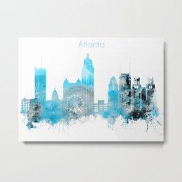 Atlanta Monochrome Blue Skyline Metal Print