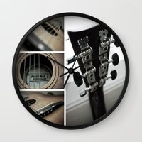 guitar Wall Clocks featuring Guitar by TJAguilar Photos