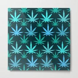 Marijuana Teal Weed Metal Print