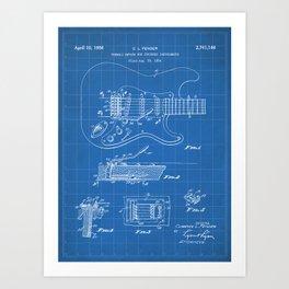 Guitar Tremelo Patent - Guitarist Art - Blueprint Art Print