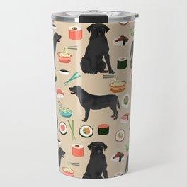 black lab sushi cute funny dog breed pet pattern labrador retriever Travel Mug