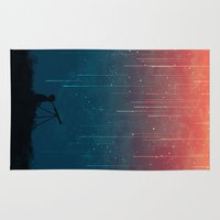 red Area & Throw Rugs featuring Meteor rain by Picomodi