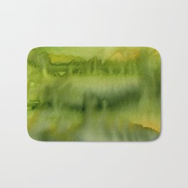 Abstract Green Gold Watercolor Pattern Texture Bath Mat