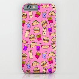 Kawaii Fast Food Burger Fries Taco Pattern Pink iPhone Case