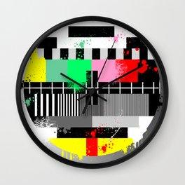 Retro grunge color tv test screen Wall Clock