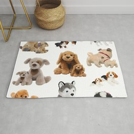 Puppy and Mommy Fluffy Dogs Rug