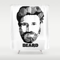 beard Shower Curtains featuring Beard! by Joséphine and friends/ et ses amis!