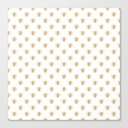 Gold Metallic Faux Foil Photo-Effect Bees on White Canvas Print