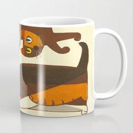 Inagaki Tomoo Vintage Japanese Woodblock print mid century Modern Cubism Art Cats Feline Coffee Mug