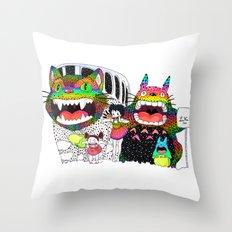Totoro fan art (cat bus) by Luna Portnoi Throw Pillow