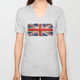 British flag of the UK, retro style Unisex V-Neck