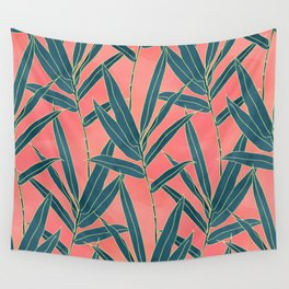 Modern coral and blue foliage design Wall Tapestry