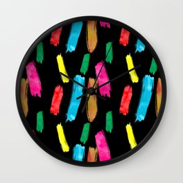 Bold and Colorful Art Strokes Wall Clock