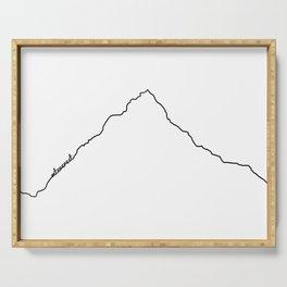 Mt Everest Art Print / White Background Black Line Minimalist Mountain Sketch Serving Tray