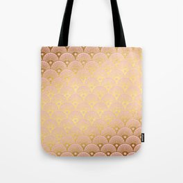 Gold and pink sparkling Mermaid pattern Tote Bag