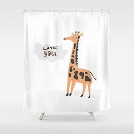 Love Giraffe Shower Curtain