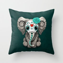 Teal Blue Day of the Dead Sugar Skull Baby Elephant Throw Pillow