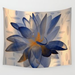 Midnight Blue Polka Dot Floral Abstract Wall Tapestry