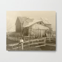 Decrepid Sepia Toned Wooden Barn in West Michigan Metal Print