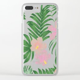 Summer tropical modern blush pink coral green floral Clear iPhone Case