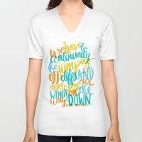 vonnegut V-neck T-shirts featuring ...JUMPING OFF CLIFFS by Matthew Taylor Wilson