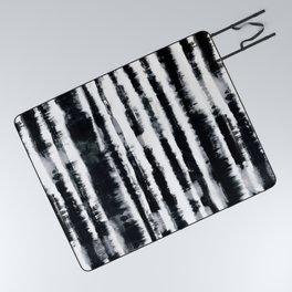 Tie-Dye Shibori Stripe BW Picnic Blanket