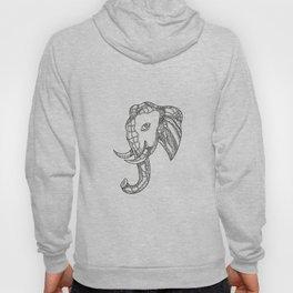 Bull  Elephant Head Doodle Art Hoody